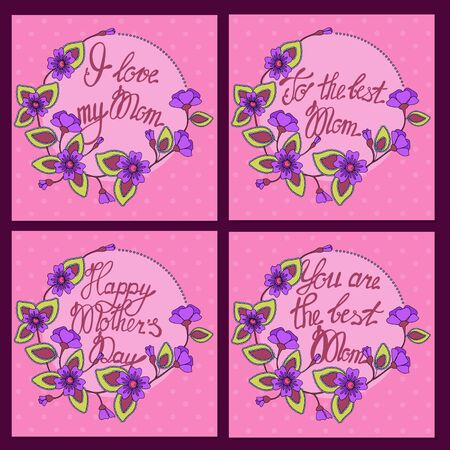 Set of square card for Mom vector