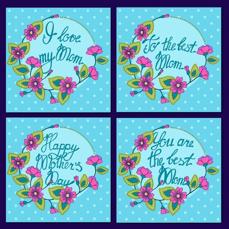 Set of square card for Mom blue