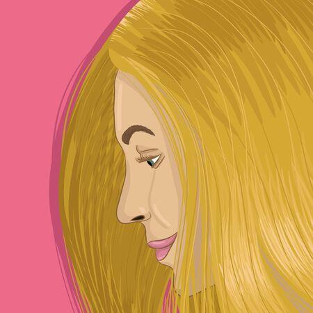 Blonde portrait hand drawing