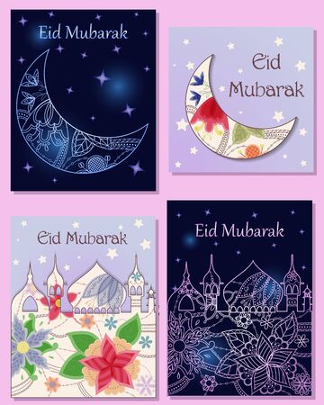 Eid mubarak cards set town silhouette and crescent