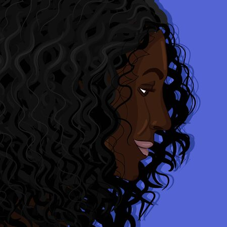 Curly black woman portrait hand drawing vector