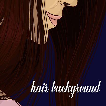 Dark hair background hand drawing vector Çizim