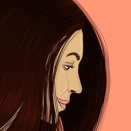 Brunette portrait hand drawing vector