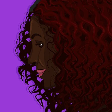 Curly black woman with red hairs portrait hand drawing