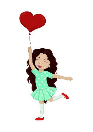 Little girl with heart balloon