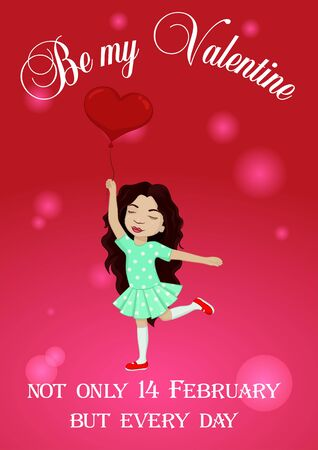 Be my Valentine card with little girl and balloon Çizim