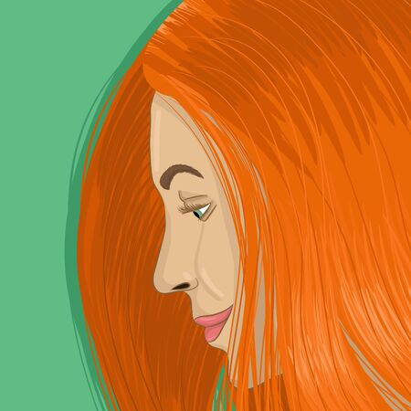 Redhead woman portrait hand drawing vector