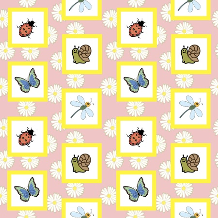 Seamless image Insects Vector