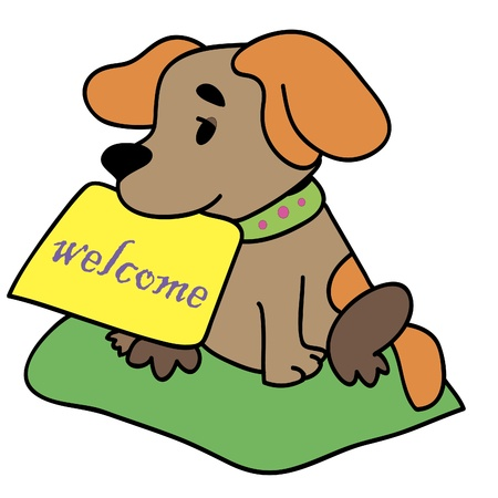 A dog with a sign Illustration