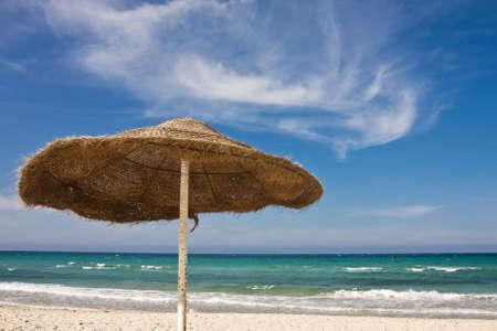 One sunshade on beach in Tunisia Stock Photo - 5055156
