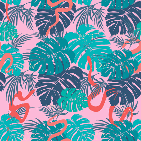 Vector seamless pattern with snakes and tropical leaves