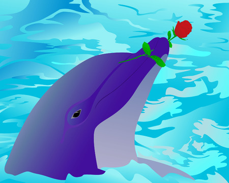 Dolphin and a rose Vector