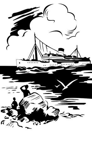 Sea landscape, ship Vector