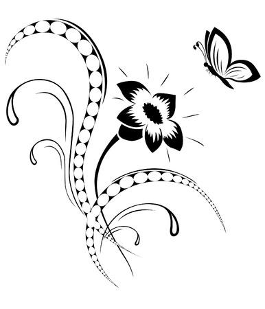 farfalla tatuaggio: Motivo di fiore, tatuaggio Vettoriali