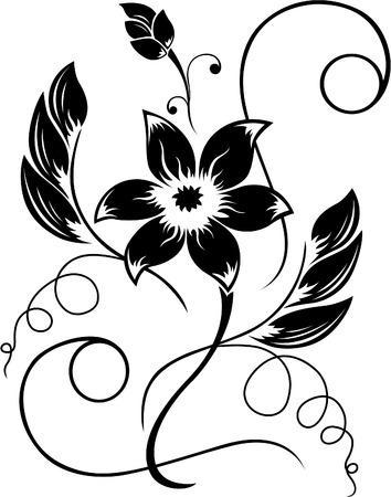 Flower  black a white pattern Stock Vector - 6844029