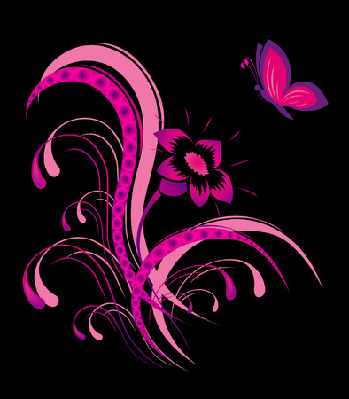 Abstract flower pattern with butterfly Stock Vector - 6844034