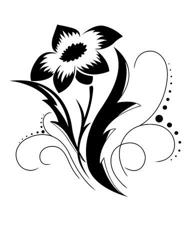 Black a white flower pattern