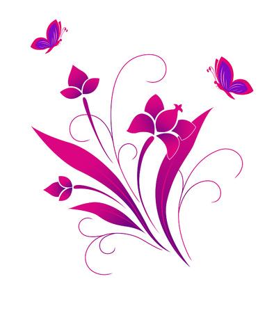 Butterflies and a flower pattern Stock Vector - 6851472