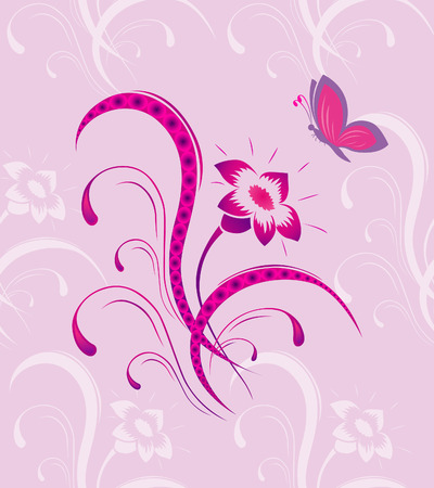 Flower pattern with the butterfly a seamless Vector