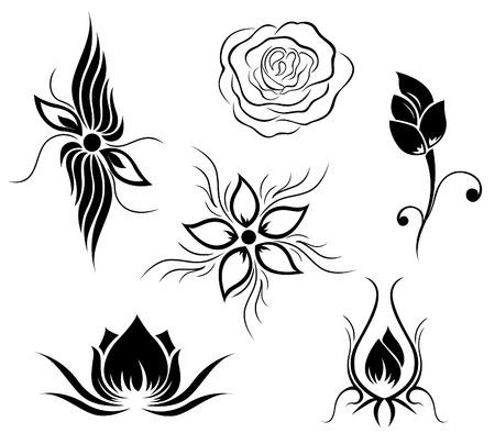 Tattoo and flower pattern Illustration