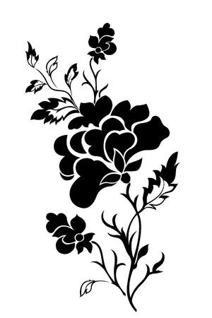 Vertical flower pattern, rose, tattoo