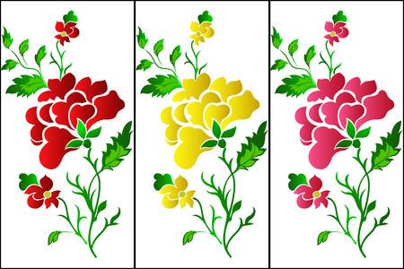 Flower pattern vertical, rose, tattoo Stock Vector - 7339602