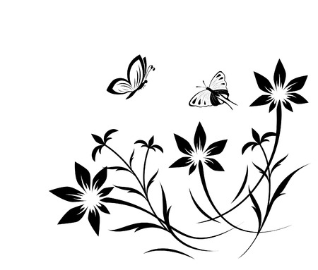 design floral: Abstract flower pattern with butterfly