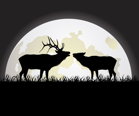 Deer against the Moon Stock Vector - 7728051