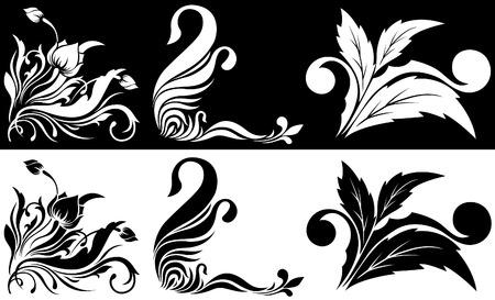 Black a white angular flower pattern