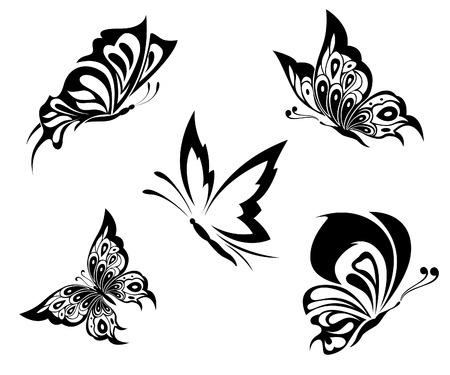 tatouage papillon: Noire papillons blancs d'un tatouage Illustration