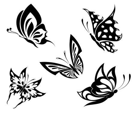 butterfly tattoo: Impostare butterflyes bianco nero di un tatuaggio