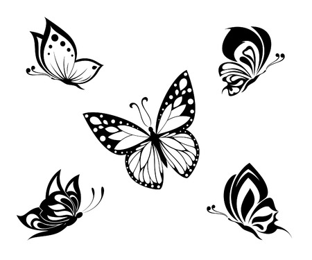 tattoo art: Tattoo black and white butterflies, set