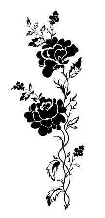 rosas negras: Rosa de patr�n floral vertical, tatuaje
