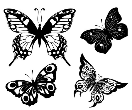 Black a white set of butterflies of tattoos Vector