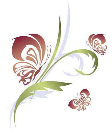 Butterflies with a flower pattern Stock Vector - 8313226