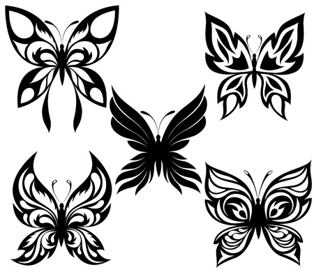 Set  black white butterflies of a tattoo Stock Vector - 8313228
