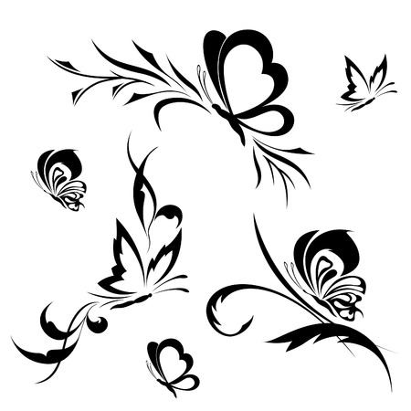 butterfly tattoo design: Butterflies with a flower pattern Illustration