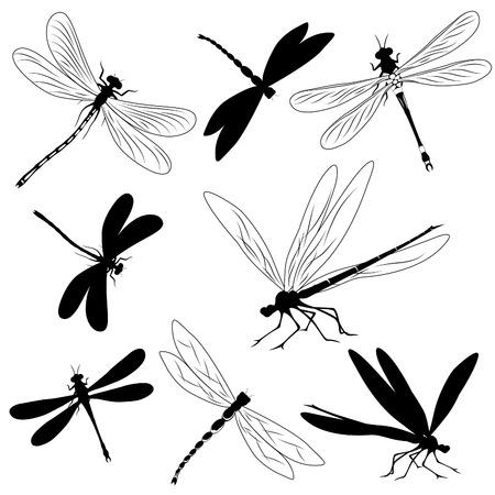 Set van silhouetten van libellen, tattoo Vector Illustratie