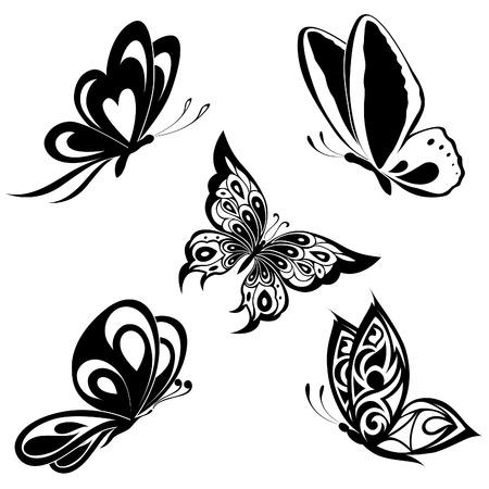 Set  black white butterflies of a tattoo Stock Vector - 8499330