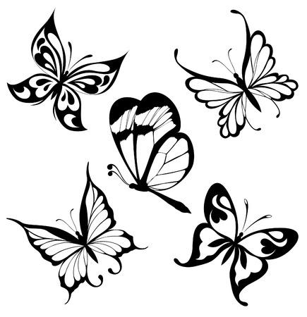 butterfly tattoo: Establecer las mariposas blancas negras de un tatuaje