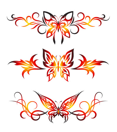 Set tribal with butterflies, tattoo Vector