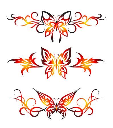 Set tribal with butterflies, tattoo Illustration