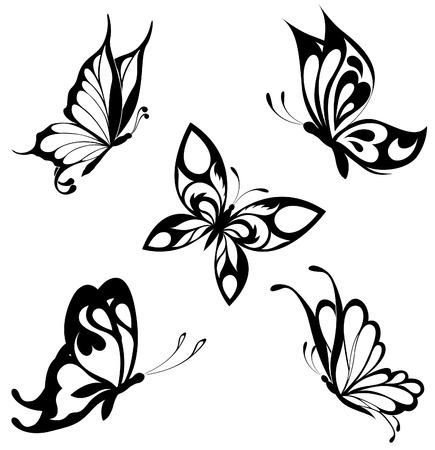 farfalla tatuaggio: Impostare le farfalle bianchi neri di un tatuaggio Vettoriali