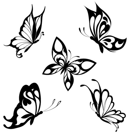 black and white image: Set  black white butterflies of a tattoo