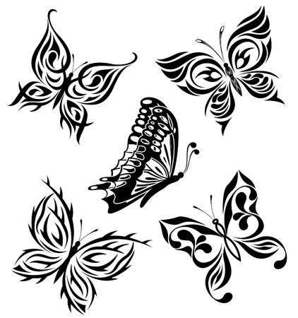 tatouage art: Set noirs papillons blancs d'un tatouage Illustration