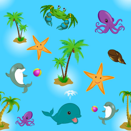 Pattern seamless with sea animals, palm Vector