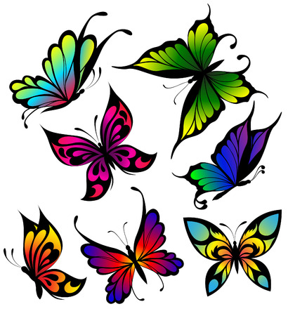 Set of colour butterflies of tattoos