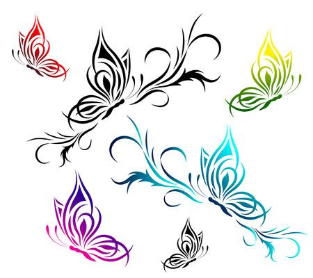 silhouette papillon: Papillons avec un motif floral