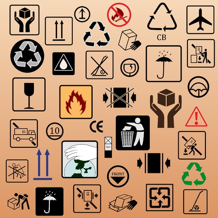 mail truck: Set of packing symbols