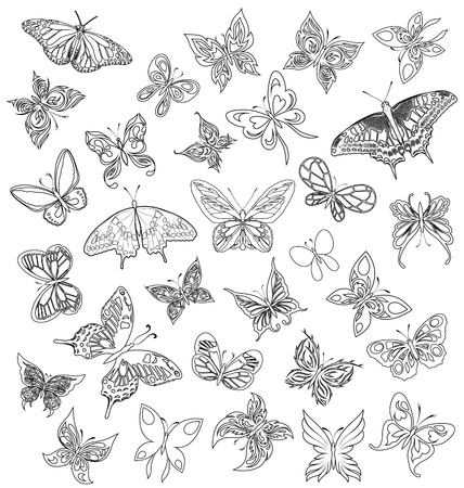 develop: Set black white butterflies of a tattoo